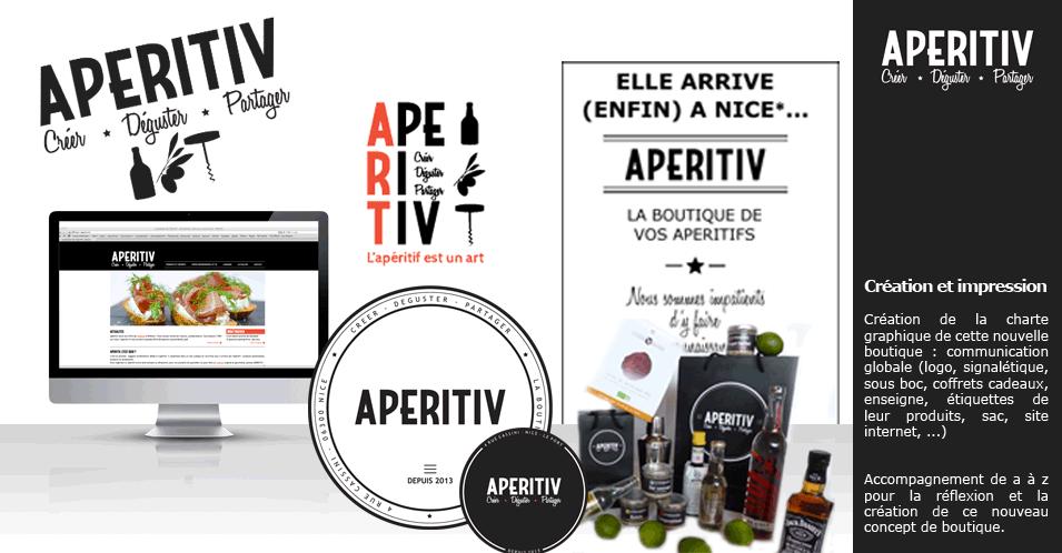 Création de la communication 06 globale du nouveau concept de boutique Aperitiv sur Nice (logo, charte graphique, site internet, carte de visite, signalétique,...).