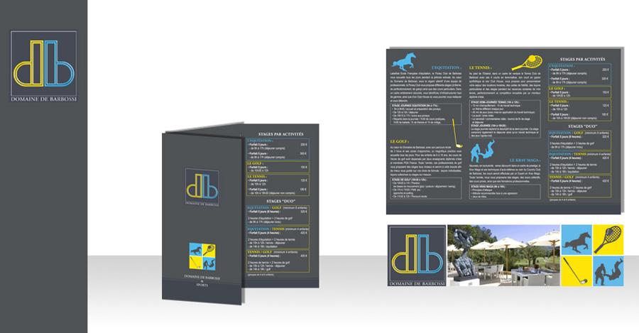 Création et impression des flyers 3 volets pour le Domaine de Barbossi. Finition : rainage et pelliculage mat.