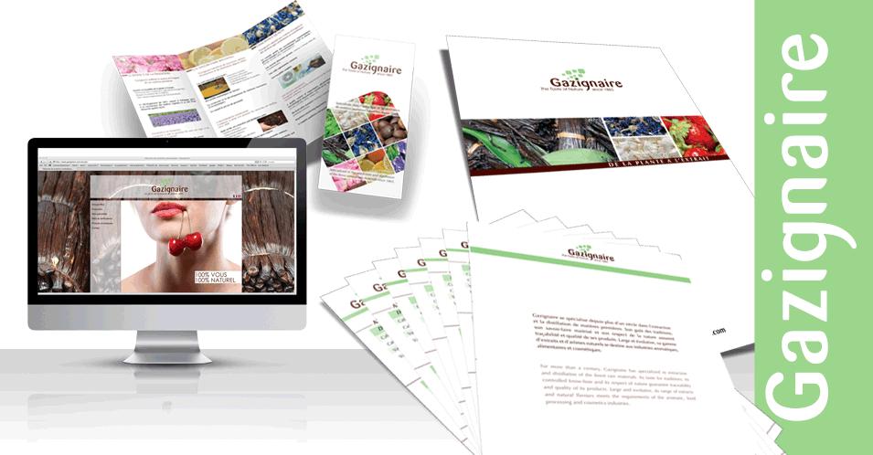 Création et impression : site internet, cartes de visite, pochette à rabats avec fiches. Finition : pelliculage mat et vernis sélectif.