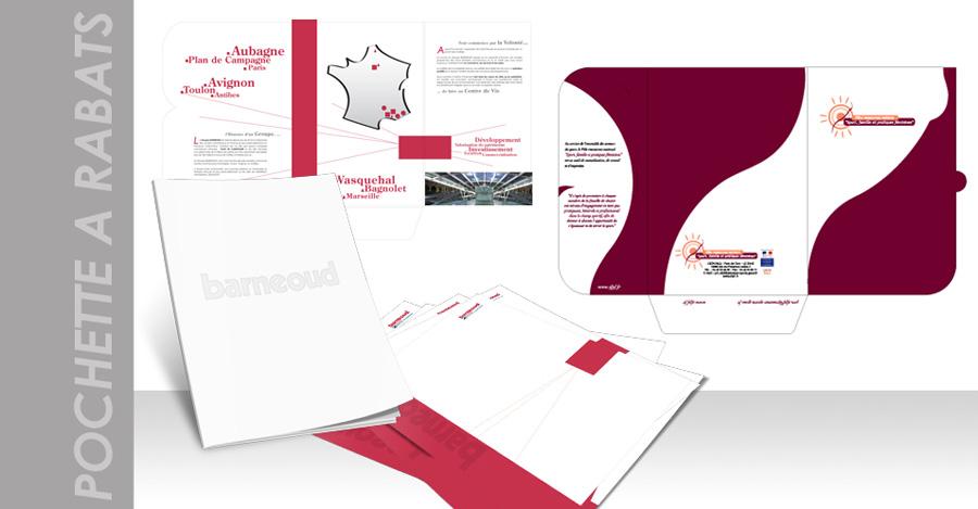 Création et impression de pochettes à rabats à partir de formes de découpe existantes ou sur mesure.