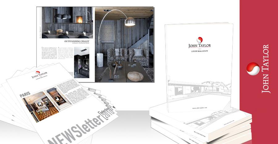 Création et impression des différents supports de communication de John Taylor (cartes de visite, magazine annuel, newsletter, design du site web, brochure,...).
